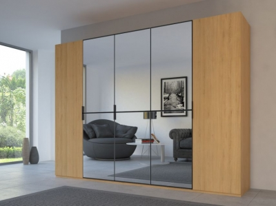 Rauch 20UP Partly Solid Wardrobe in Natural Oak Carcase with Mirror Front and Black Handle Strip