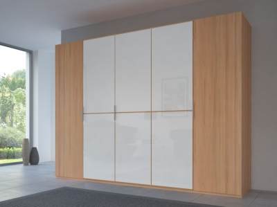 Rauch 20UP Partly Solid Wardrobe in Heart Beech Carcase with Color Mirror Front and Heart Beech Handle Strip