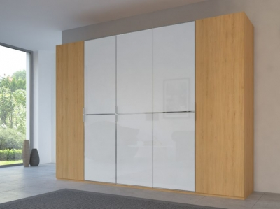 Rauch 20UP Partly Solid Wardrobe in Natural Oak Carcase with Color Mirror Front and Chrome Handle Strip