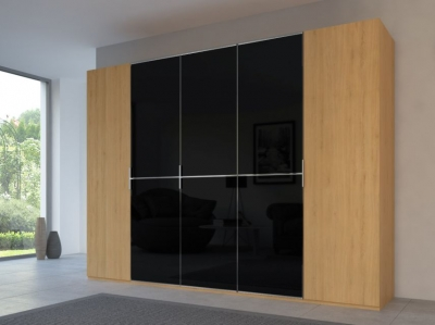 Rauch 20UP Partly Solid Wardrobe in Natural Oak Carcase with Glossy Color Glass Front and Chrome Handle Strip
