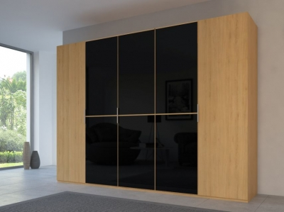 Rauch 20UP Partly Solid Wardrobe in Natural Oak Carcase with Glossy Color Glass Front and Natural Oak Handle Strip