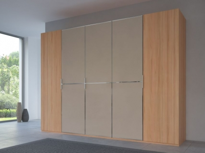 Rauch 20UP Partly Solid Wardrobe in Heart Beech Carcase with Matt Color Glass Front and Chrome Handle Strip