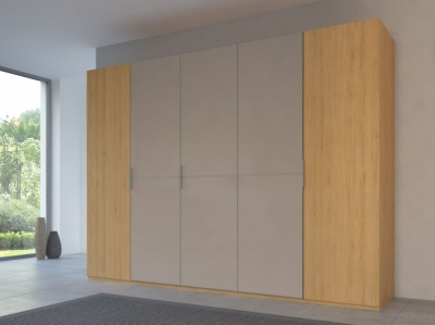 Rauch 20UP Partly Solid Wardrobe in Natural Oak Carcase with Matt Color Glass Front and Aluminium Handle Strip