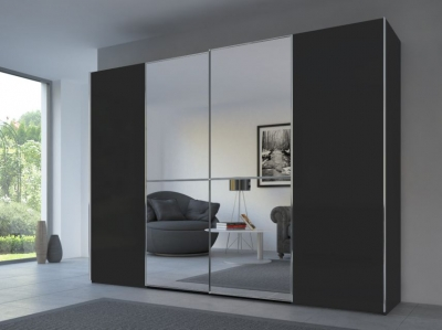Rauch 20UP Sliding Wardrobe in Matt Black Carcase with Mirror Front and Chrome Handle Strip