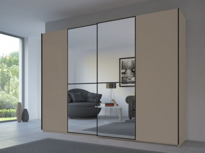 Rauch 20UP Sliding Wardrobe in Matt Fango Carcase with Mirror Front and Black Handle Strip