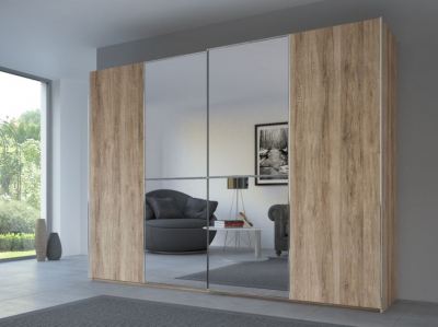 Rauch 20UP Sliding Wardrobe in Sanremo Light Oak Carcase with Mirror Front and Chrome Handle Strip