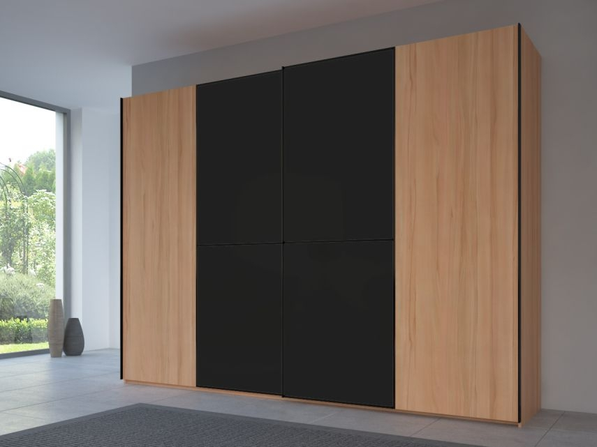 Rauch 20UP Partly Solid Sliding Wardrobe in Heart Beech Carcase with Matt Color Glass Front and Black Handle Strip