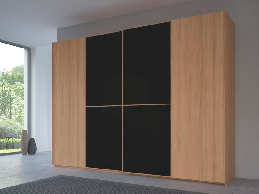Rauch 20UP Partly Solid Sliding Wardrobe in Heart Beech Carcase with Matt Color Glass Front and Heart Beech Handle Strip
