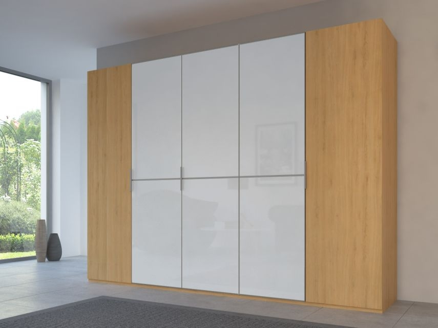 Rauch 20UP Partly Solid Wardrobe in Natural Oak Carcase with Color Mirror Front and Aluminium Handle Strip