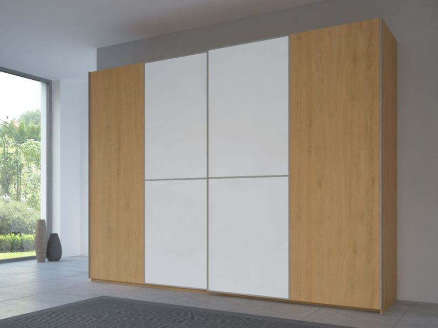 Rauch 20UP Sliding Wardrobe in Natural Oak Carcase with Matt White Front and Aluminium Handle Strip