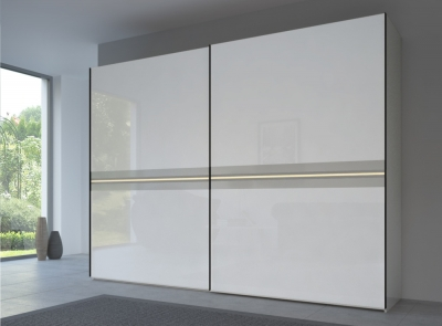 Rauch 20UP Front 4B Sliding Wardrobe with High Gloss White Front