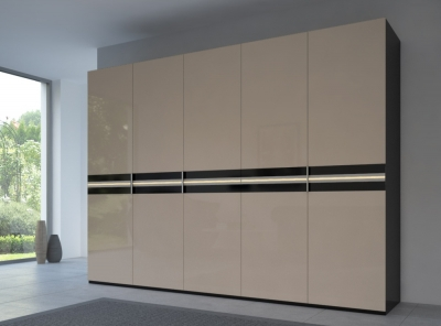 Rauch 20UP Front 4B Wardrobe with Glossy Glass Front