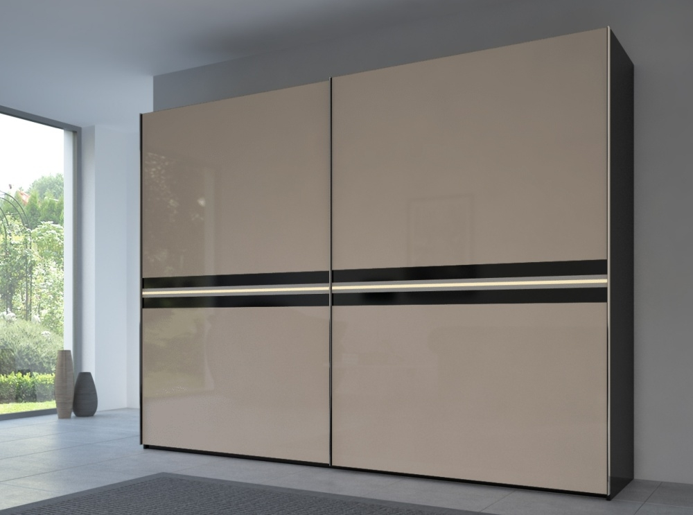 Rauch 20UP Front 4B Sliding Wardrobe with Glossy Glass Front