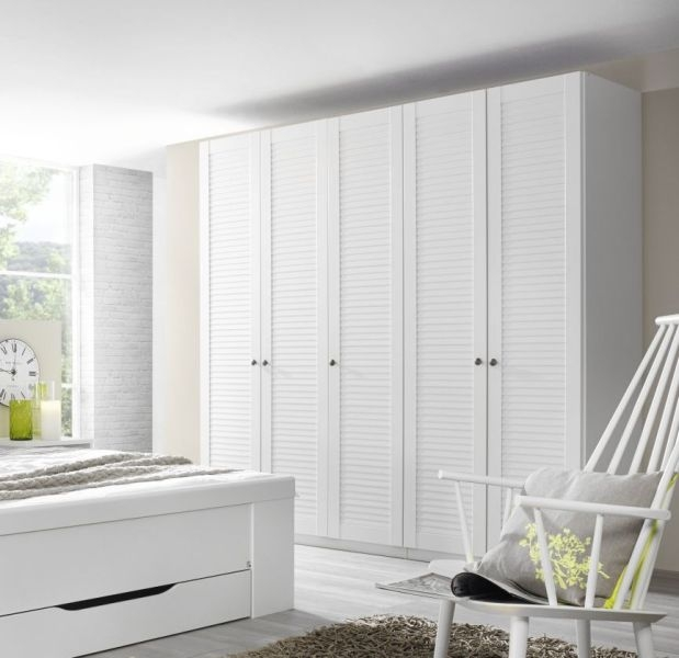Rauch Agnetha White Wardrobe with Front Louver Effect