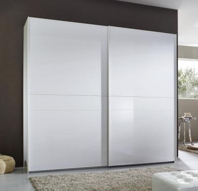 Rauch Alando 2 Door Sliding Wardrobe in White Matt and Crystal White Glass - W 240cm