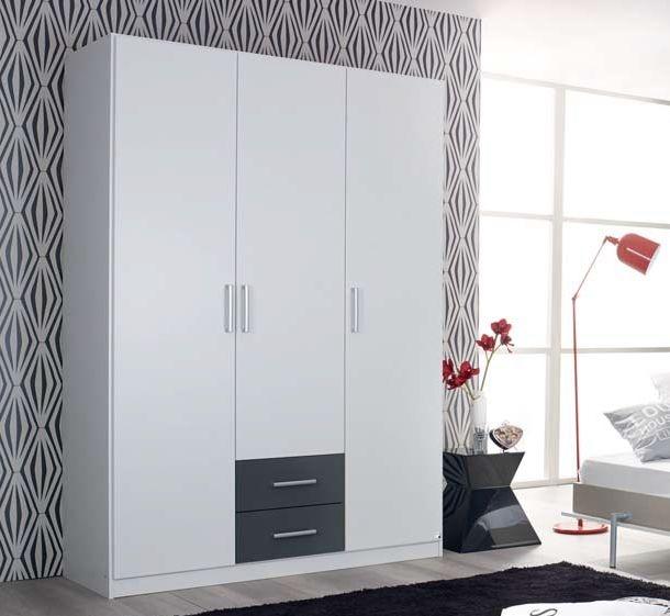 Rauch Albero Extra 1 Door 2 Drawer Combi Wardrobe in Alpine White and Metallic Grey - W 47cm