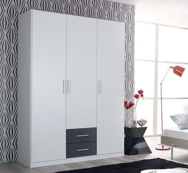 Rauch Albero Extra 3 Door 2 Drawer Combi Wardrobe in Alpine White and Metallic Grey - W 136cm