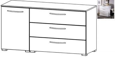 Rauch Aldono 1 Left Door 3 Drawer Chest in Alpine White with High Gloss White