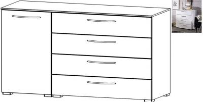 Rauch Aldono 1 Left Door 4 Drawer Chest in Alpine White with High Gloss White