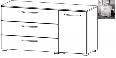 Rauch Aldono 1 Right Door 3 Drawer Chest in Alpine White with High Gloss White