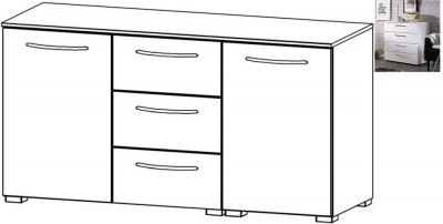 Rauch Aldono 2 Door 3 Drawer Chest in Alpine White with High Gloss White