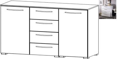 Rauch Aldono 2 Door 4 Drawer Chest in Alpine White with High Gloss White