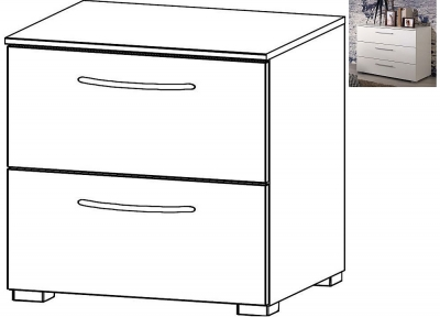 Rauch Aldono 2 Drawer Bedside Cabinet in Alpine White with High Gloss White - W 50cm