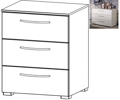 Rauch Aldono 3 Drawer Bedside Cabinet in Alpine White with High Gloss White - W 50cm