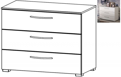 Rauch Aldono 3 Drawer Chest in Alpine White with High Gloss White