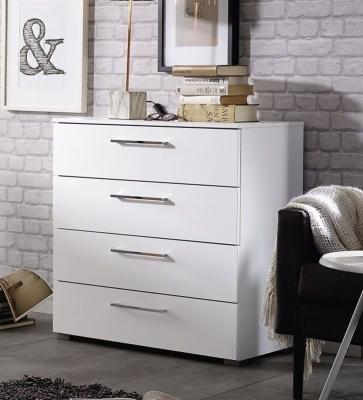 Rauch Aldono 4 Drawer Chest in Alpine White with High Gloss White - W 80cm