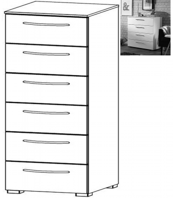 Rauch Aldono 6 Drawer Chest in Alpine White with High Gloss White