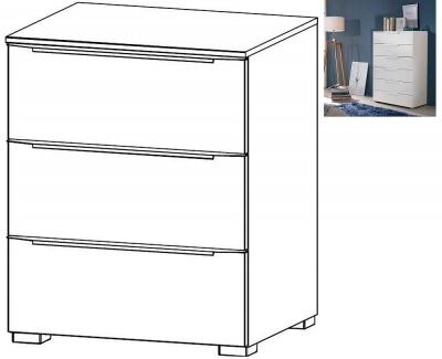 Rauch Aldono Deluxe 3 Drawer Bedside Cabinet in Alpine White - W 50cm