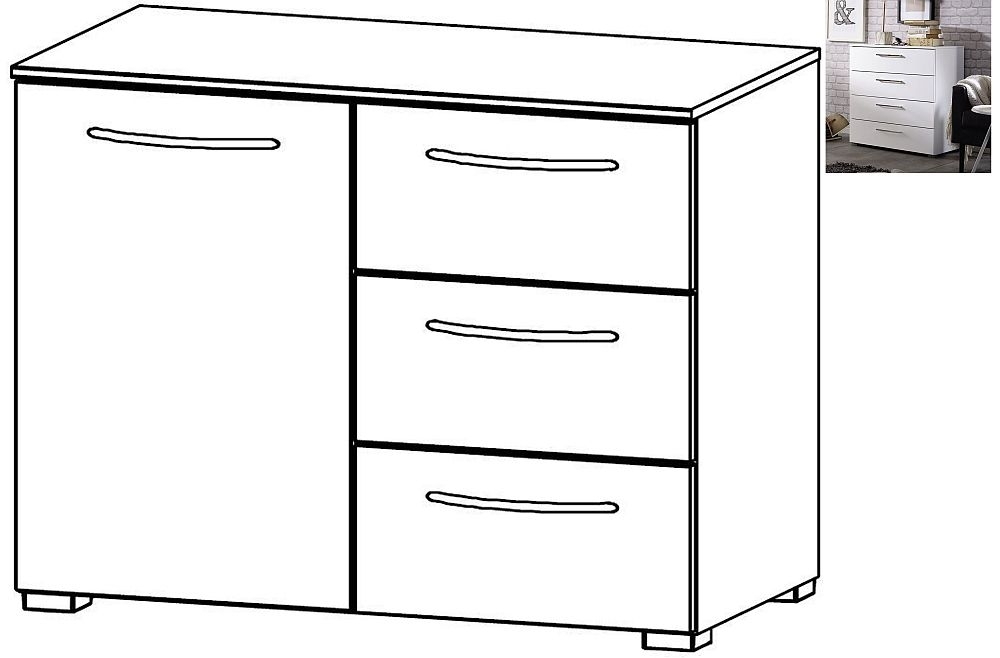 Rauch Aldono 1 Door 3 Drawer Chest in Alpine White with High Gloss White