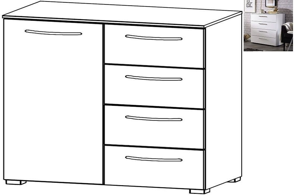 Rauch Aldono 1 Door 4 Drawer Chest in Alpine White with High Gloss White