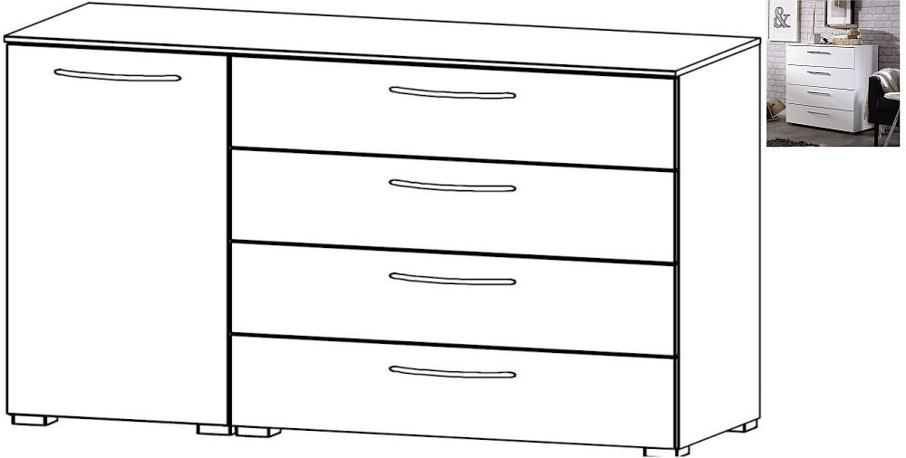 Rauch Aldono 1 Left Door 4 Drawer Chest in Alpine White with High Gloss White