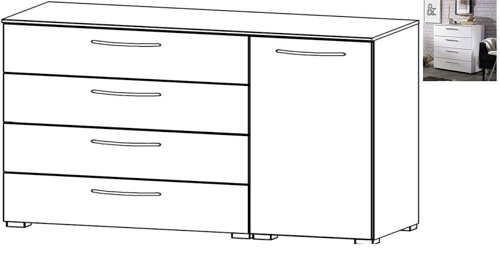 Rauch Aldono 1 Right Door 4 Drawer Chest in Alpine White with High Gloss White
