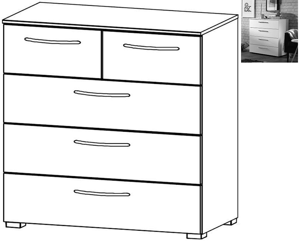 Rauch Aldono 2+3 Drawer Chest in Alpine White with High Gloss White