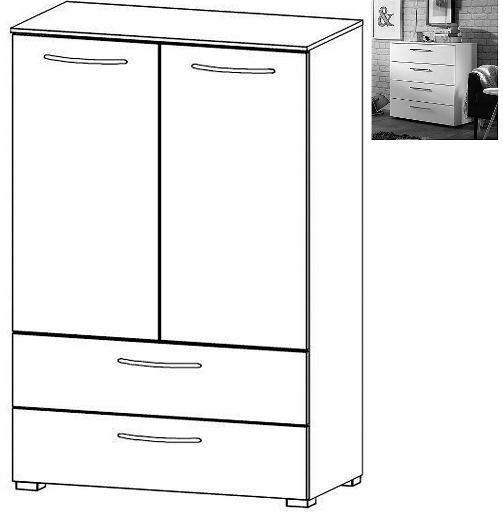 Rauch Aldono 2 Door 2 Drawer Chest in Alpine White with High Gloss White