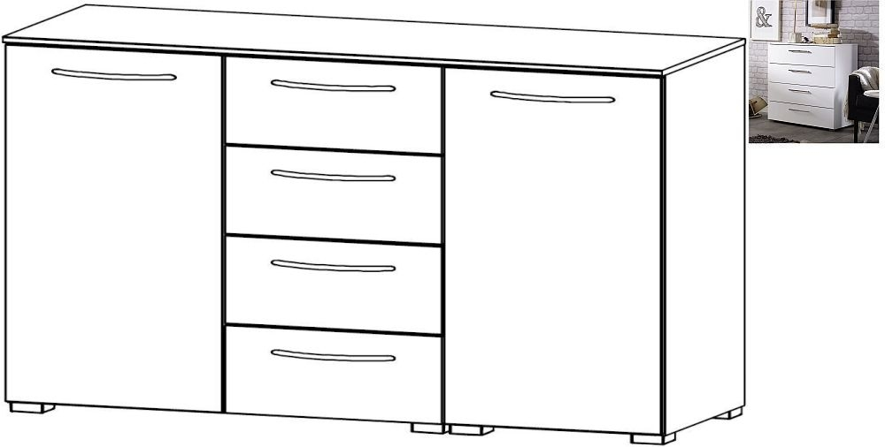 Rauch Aldono 2 Door 4 Drawer Chest in Alpine White with High Gloss White
