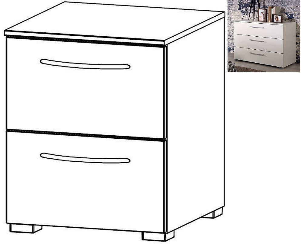 Rauch Aldono 2 Drawer Bedside Cabinet in Alpine White with High Gloss White - W 40cm