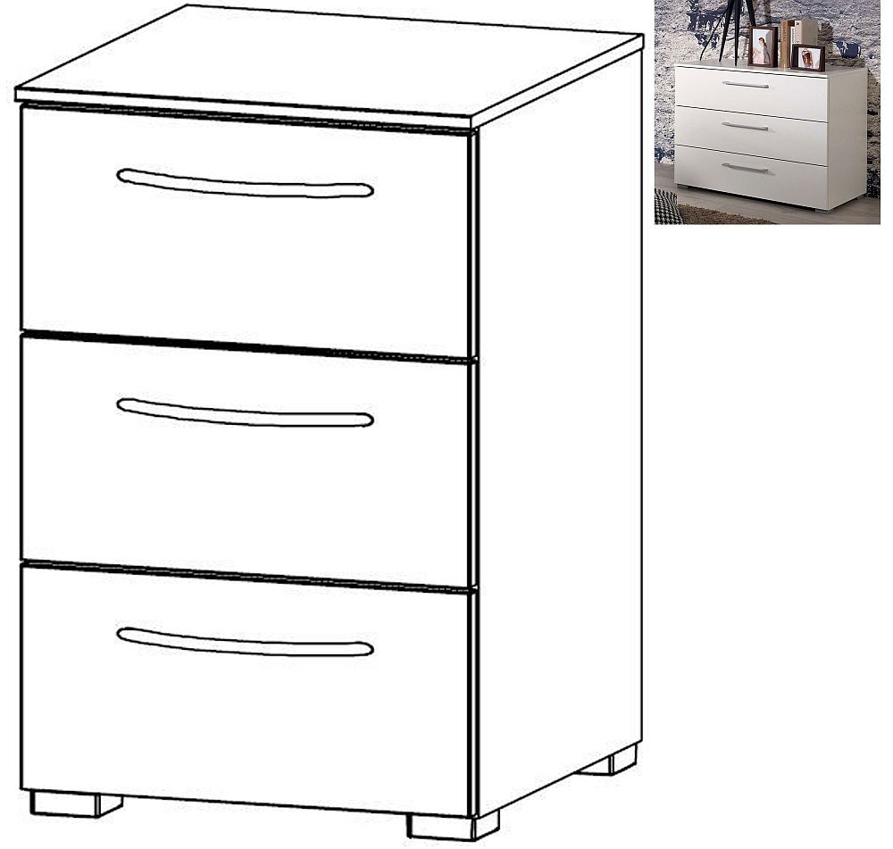 Rauch Aldono 3 Drawer Bedside Cabinet in Alpine White with High Gloss White - W 40cm