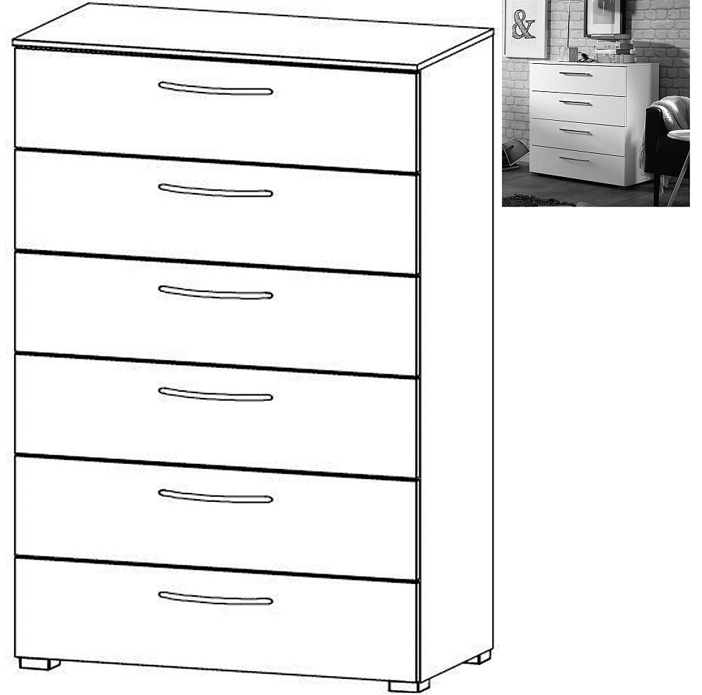 Rauch Aldono 6 Drawer Chest in Alpine White with High Gloss White - W 80cm