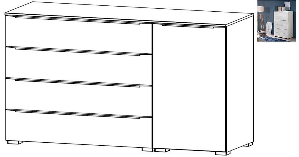 Rauch Aldono Deluxe 1 Right Door 4 Drawer Chest in Alpine White
