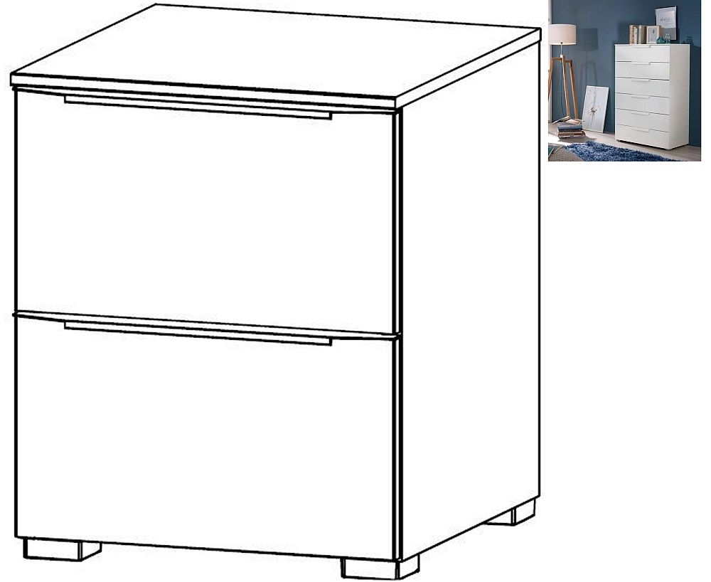 Rauch Aldono Deluxe 2 Drawer Bedside Cabinet in Alpine White - W 40cm