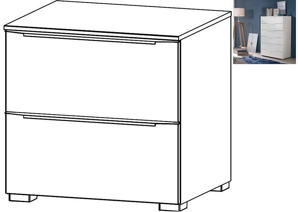 Rauch Aldono Deluxe 2 Drawer Bedside Cabinet in Alpine White - W 50cm