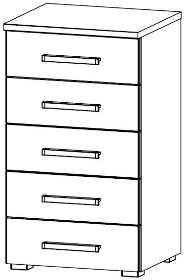 Rauch Alegro 5 Drawer Chest in High Gloss White Front - W 48cm