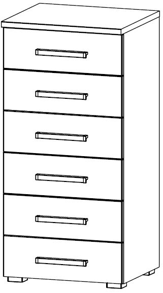 Rauch Alegro 6 Drawer Chest in High Gloss White Front