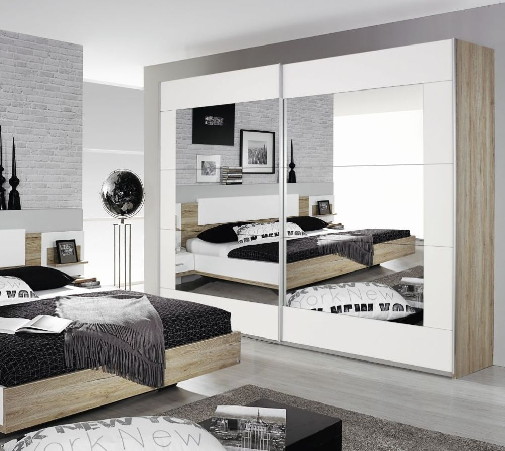 Rauch Alegro Sanremo Oak Light with Alpine White 2 Door Sliding Wardrobe with Mirror - W 271cm