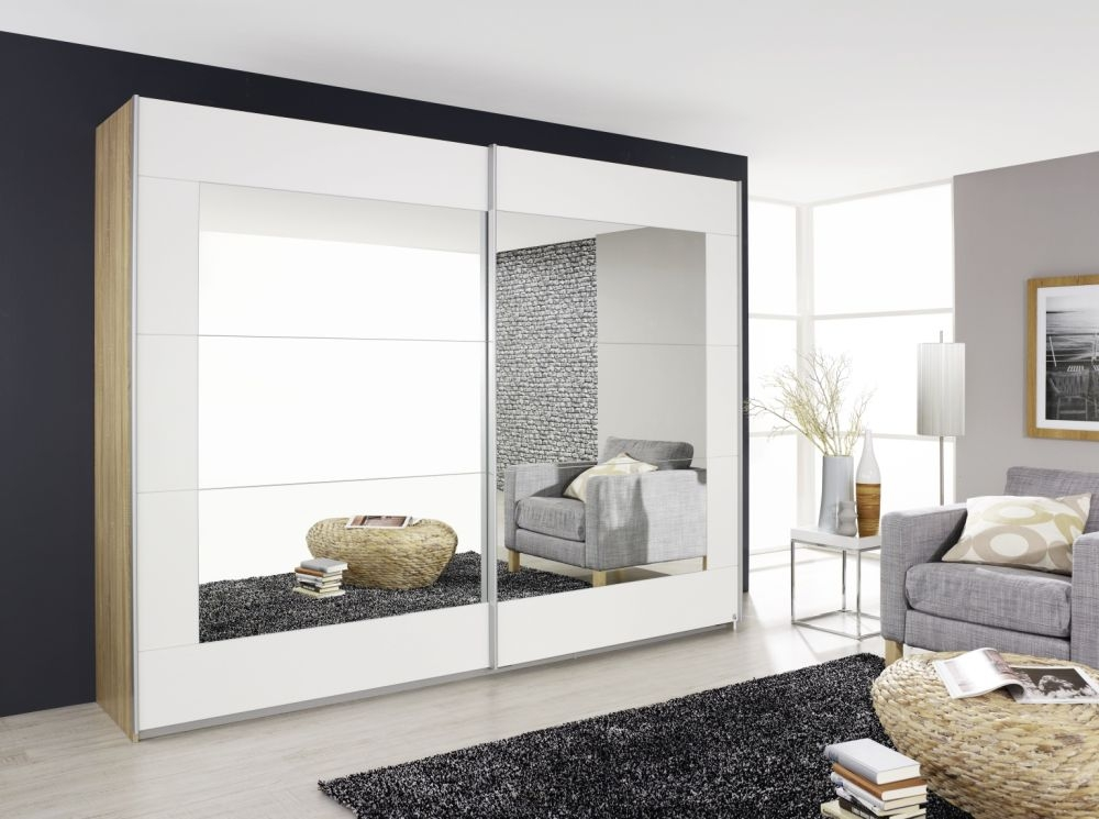 Rauch Alegro Sonoma Oak with Alpine White 2 Door Sliding Wardrobe with Mirror - W 181cm