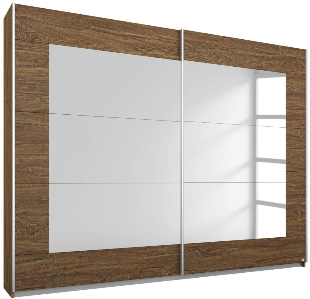 Rauch Alegro Stirling Oak 2 Door Sliding Wardrobe with Mirror - W 181cm